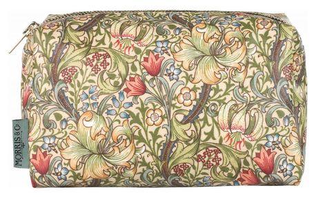 MORRIS & Co. Kosmetická taštička Golden Lily - široká, zelená barva, žlutá barva, textil