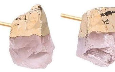 DECADORN Náušnice Mini Rose Quartz/Gold, růžová barva, zlatá barva, kov, kámen
