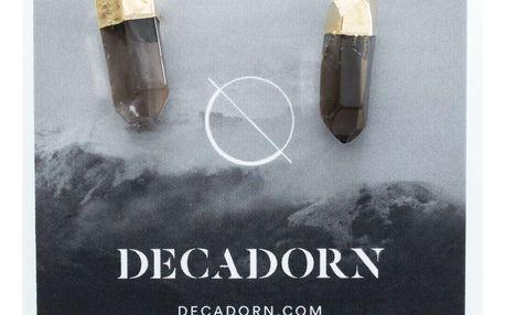 DECADORN Náušnice Mini Raw Point Smokey Quartz/Gold, šedá barva, zlatá barva, kov, kámen