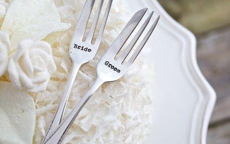 La de da! Living Set postříbřených dezertních vidliček Bride & Groom, stříbrná barva, kov