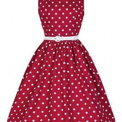 Puntíkaté šaty v retro stylu - Červená-velikost č. 5 - dodání do 2 dnů