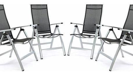 Garthen 35212 Sada 4 ks luxusních hliníkových extra širokých polohovatelných židlí