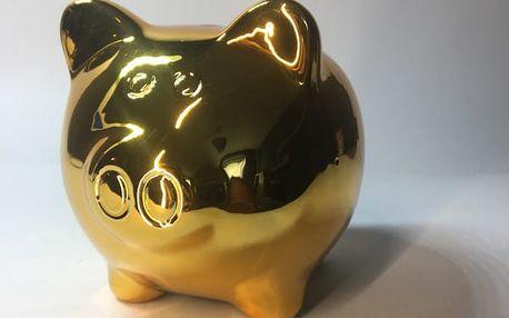 Pokladnička zlaté prasátko 10 x 8 cm
