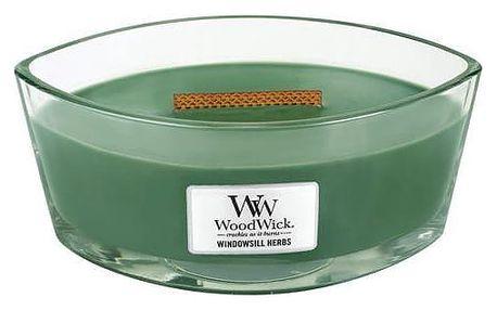 WoodWick Vonná svíčka WoodWick - Bylinková zahrádka 454gr, zelená barva, sklo