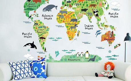 Dětská nástěnná samolepka Ambiance World Map, 73 x 95 cm