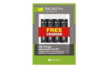 Nabíječka GP ReCyko+ Pro AA, HR6, 2000mAh, Ni-MH, 4ks + USB nabíječka černá (1033212075)