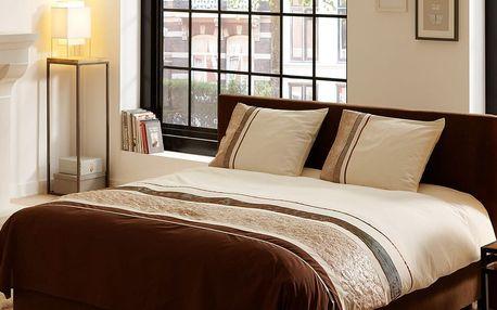 Povlečení na dvoulůžko z bavlněného saténu Muller Textiels Brown Stripes, 200 x 200 cm