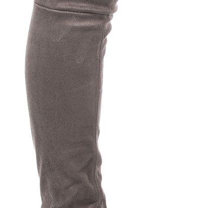 Modern World Mušketýrky dámské kozačky nad kolena semišové nizký podpatek