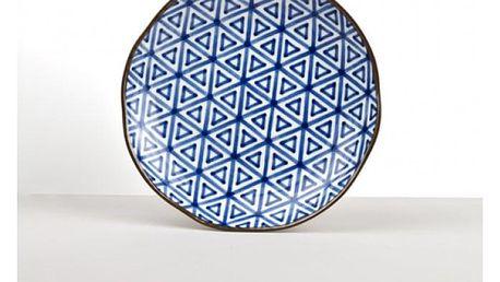 MIJ Mělký talíř Triangle Indigo Ikat 23 cm
