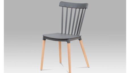 Jídelní židle, šedý plast / masiv buk CT-757 GREY Autronic