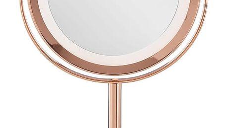 Kosmetické zrcadlo s LED světly v barvě růžového zlata Premier Housewares Clara, 17 x 33 cm