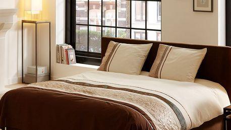Povlečení na dvoulůžko z bavlněného saténu Muller Textiels Brown Stripes, 200 x 240 cm