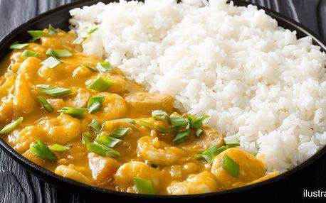 Krevety se zeleninou a citronovou trávou s rýží