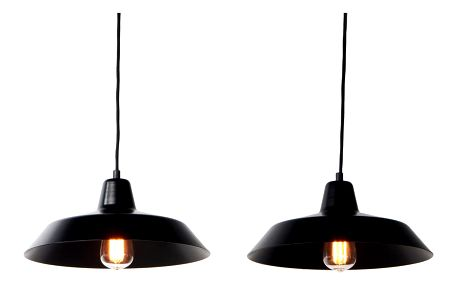 Černé závěsné svítidlo se 2 stínidly Bulb Attack Cinco