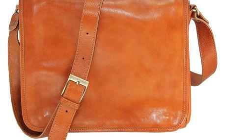 Koňakově hnědá kožená taška Chicca Borse Norma