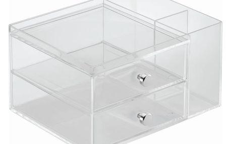 Transparentní organizér s 2 zásuvkami InterDesign, výška18cm