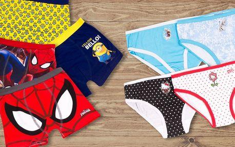 Dětské spodní prádlo s oblíbenými hrdiny z filmů