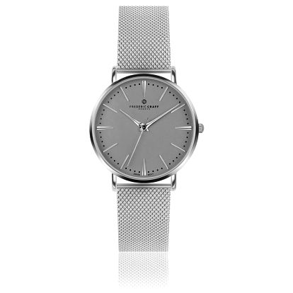 Unisex hodinky s páskem z nerezové oceli ve stříbrné barvě Frederic Graff Silver Eiger Silver Mesh