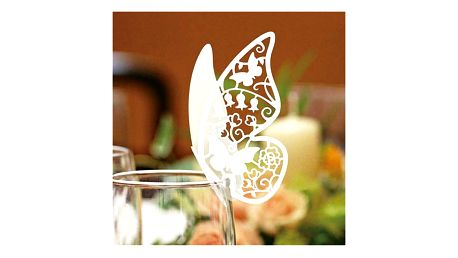 Svatební dekorace na skleničky - Motýlci - 50 kusů