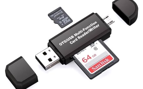 Multifunkční OTG čtečka paměťových karet + USB porty