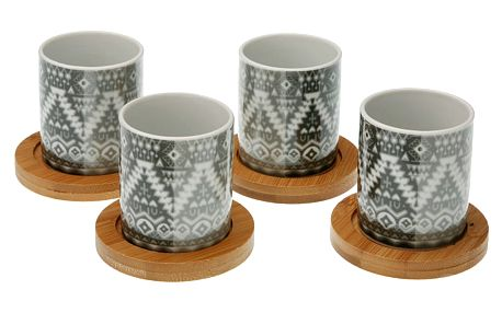 Sada 4 hrnečků s podnosy z bambusu VERSA Ornament