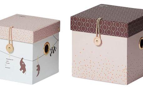 Sada 2 růžových úložných boxů Done by Deer