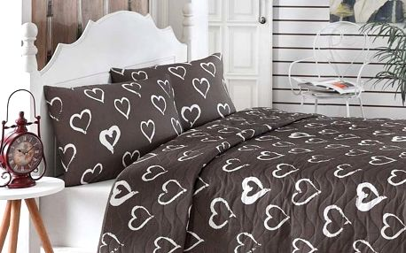 Prošívaný přehoz přes postel se 2 povlaky na polštáře Amor, 200 x 220 cm