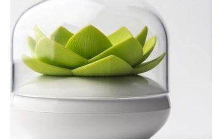 Bílo-zelený stojánek na vatové tyčinky Qualy&CO Lotus