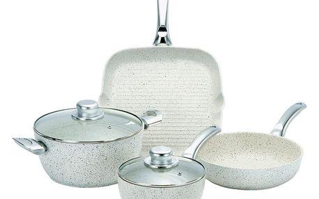 6dílný set nádobí s poklicemi a úchyty ve stříbrné barvě Bisetti Stonewhite