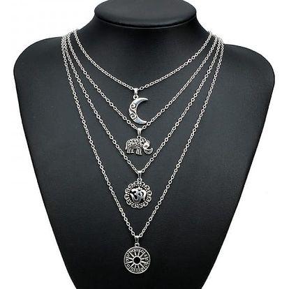 Vícevrstvý náhrdelník s přívěsky