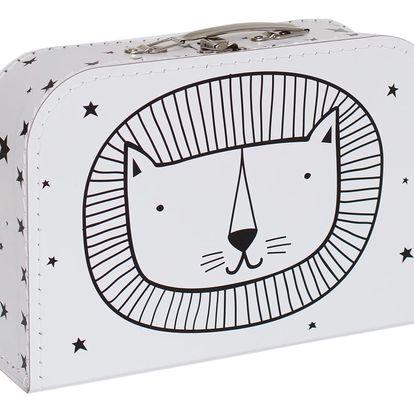 A Little Lovely Company Dětský kufřík Lion, černá barva, bílá barva, papír