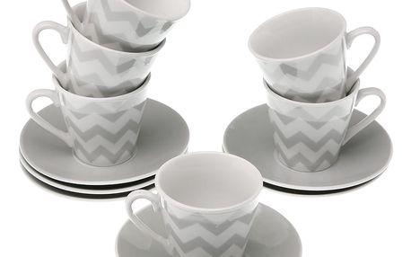 Sada 6 hrnků s podšálky VERSA Tea Chev, 8 cl