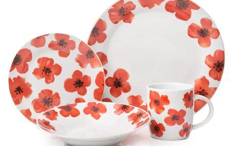 12dílný porcelánový set nádobí Sabichi Spring Poppy