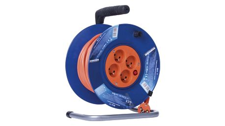 Kabel prodlužovací na bubnu EMOS 4x zásuvka, 25m oranžový (1908042501)