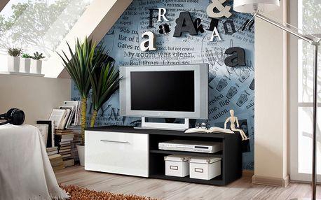 RTV stolek BONO I, černá matná/bílý lesk