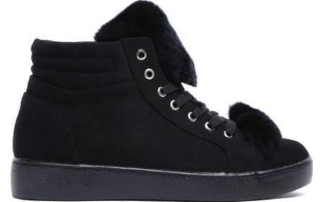 Dámské černé kotníkové tenisky Coat 7108