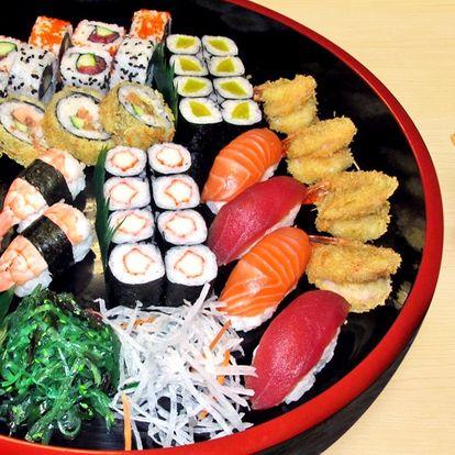 Sushi set s krevetami, lososem i tuňákem