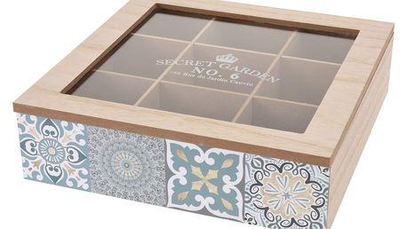 Dřevěný box na čajové sáčky Chinoas 24 x 24 x 7 cm, modrá