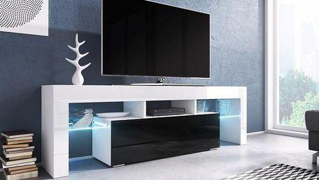 Televizní stolek Toro, bílý lesk / černý lesk