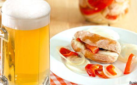 2 piva ze široké nabídky nebo pivo a utopenec