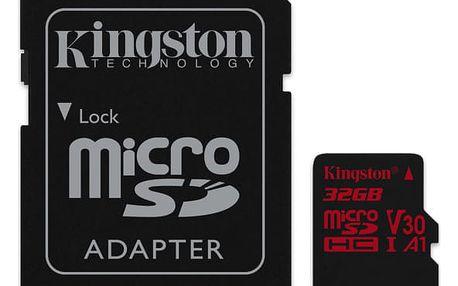 Paměťová karta Kingston microSDHC 32GB UHS-I U3 (100R/70W) + adaptér (SDCR/32GB)