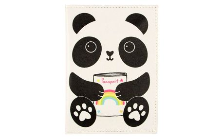 sass & belle Obal na cestovní doklady Panda Kawaii, černá barva, bílá barva, plast - Sass & Belle Pouzdro na doklady Aiko Panda Kawaii Friends
