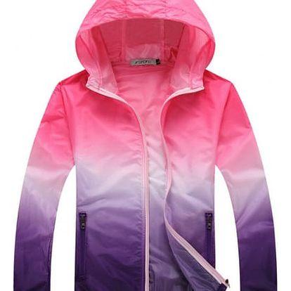 Dámská lehká bunda s barevnými přechody - Růžová-velikost č. L - dodání do 2 dnů