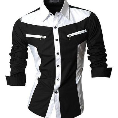 Pánská košile v neotřelém designu - z018 Černá-velikost č. 3 - dodání do 2 dnů
