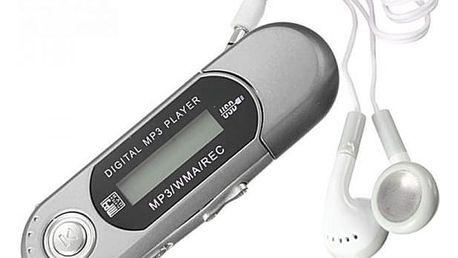 MP3 přehrávač podporující paměť až 32 GB - stříbrná barva - dodání do 2 dnů