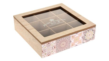 Dřevěný box na čajové sáčky Chinoas 24 x 24 x 7 cm, růžová