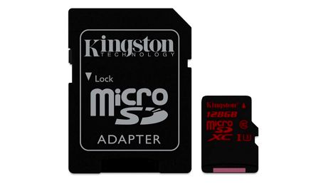 Paměťová karta Kingston MicroSDXC 128GB UHS-I U3 (90R/80W) + adapter (SDCA3/128GB)