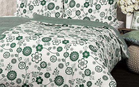Jahu Bavlněné povlečení Flower zelená, 140 x 200 cm, 70 x 90 cm