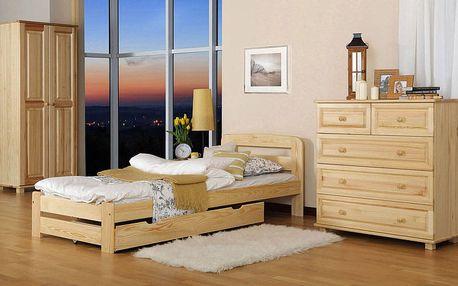 Dřevěná postel Lidia 180x200 + rošt ZDARMA borovice