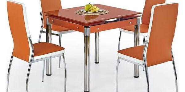 Skleněný jídelní rozkládací stůl Kent - chromovaná ocel Mléčná2